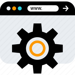 browser, gear, option, seo, web, www icon