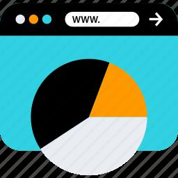 browser, chart, pie, seo, web, www icon