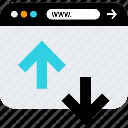 arrows, browser, seo, stream, web, www icon