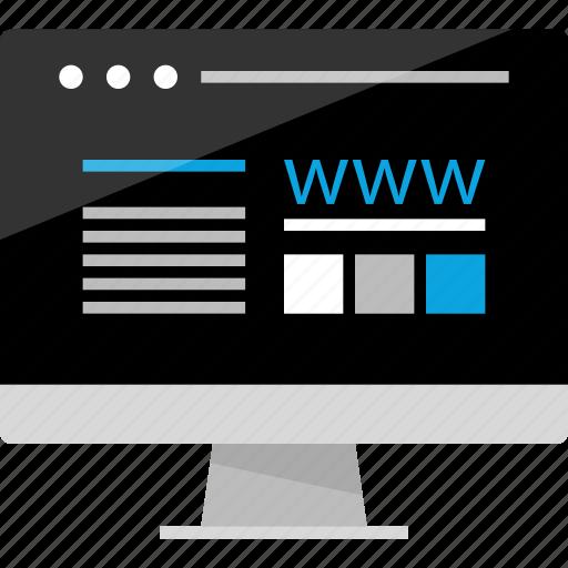 activity, computer, internet, online, screen, website, wireframe icon
