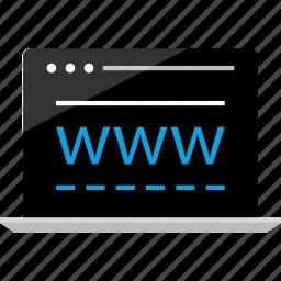 activity, internet, laptop, online, visit, wireframe, www icon