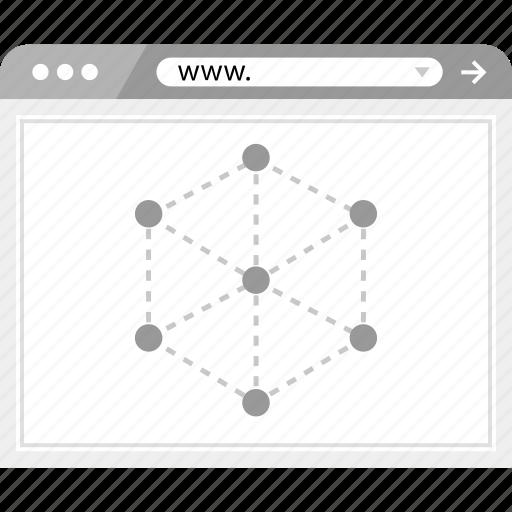 brower, internet, server, wireframe icon