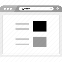 brower, layout, list, online, page, wireframe icon
