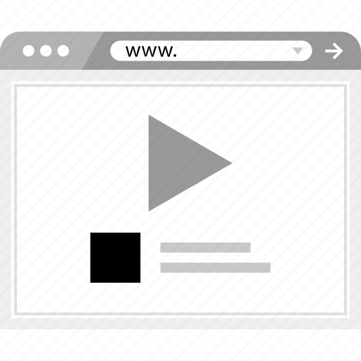 brower, media, play, video, wireframe icon