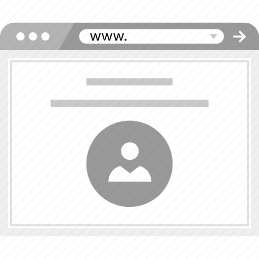 brower, online, profile, user, web, wireframe icon