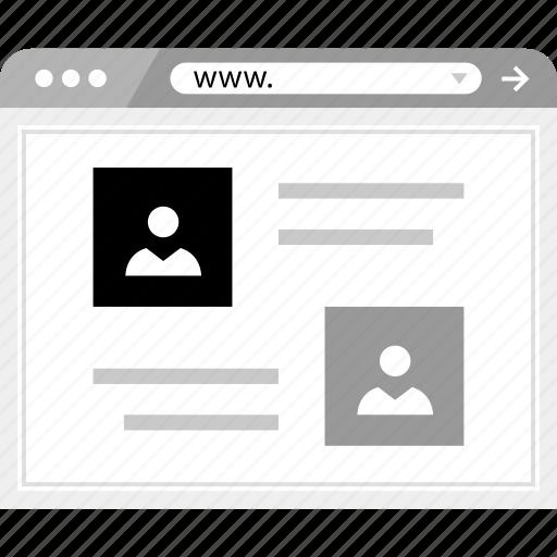 brower, friends, online, wireframe icon