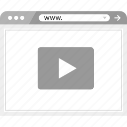 brower, play, video, wireframe icon