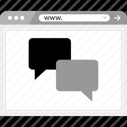 chat, conversation, online, talk, web, wireframe icon