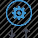 arrow, down, gear, options, setup, up icon