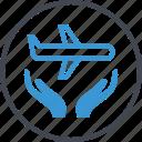 air, airplane, hands, plane, travel icon