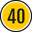 count, fourty, number, track icon