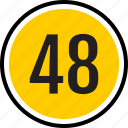 count, eight, fourty, number, track icon