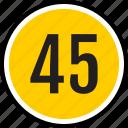number, 45