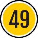 nine, number, fourty, count, track icon