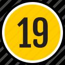 19, number, nineteen