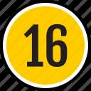 number, sixteen