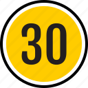 count, number, thirty, track icon