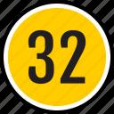 number, 32