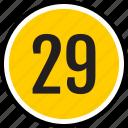 number, 29
