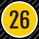 number, six, count, twenty, track icon