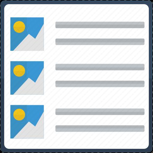 details, information, list, subtitle, title icon