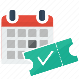 calendar, day, month, ticket, time icon