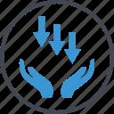 arrows, business, down, low, revenue icon