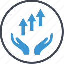 arrows, good, hand, hands, up icon