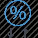 analytics, arrow, down, percent, percentage, up icon