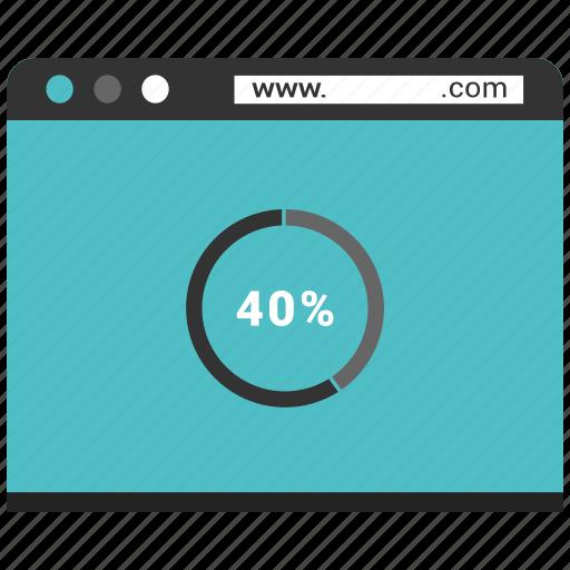 browser, internet, pie, pie chart, webpage, website icon