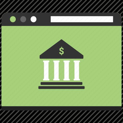 advertising, bank, browser, content, design, online bank, website icon