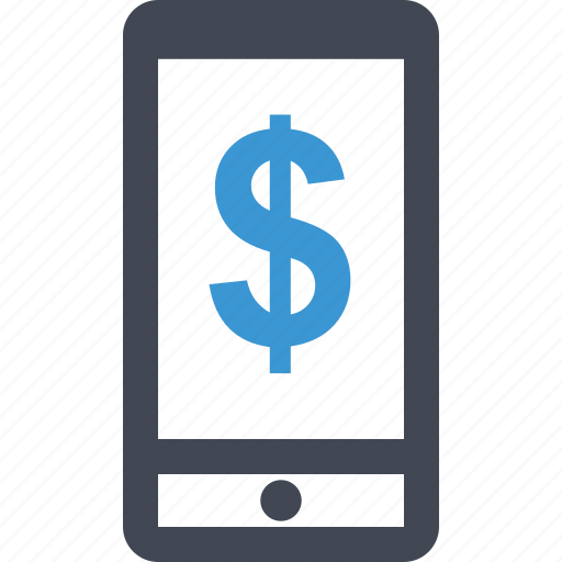 cell, dollar, online, phone, sign icon