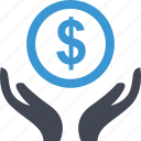dollar, hands, money, online, sign icon