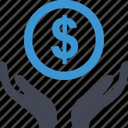 dollar, hands, money, online, sign icon