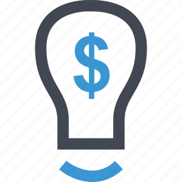 bulb, dollar, light, online, sign icon