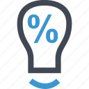 bulb, light, online, percent icon