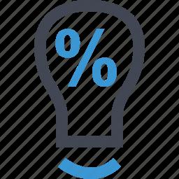 bulb, light, online, percent icon