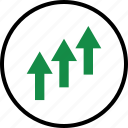 arrow, arrows, good, interest, investment, rate, up icon