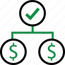 business, check, dollar, mark, money, plan, sign icon