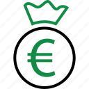 bag, business, euro, money, rich, sign, wealth icon