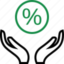 business, good, hand, hands, percentage, rate, revenue icon