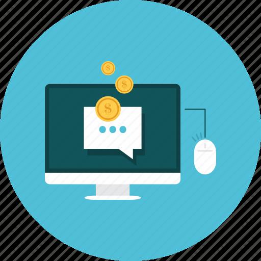 bubble, computer, conversation, money, profit, speeck icon