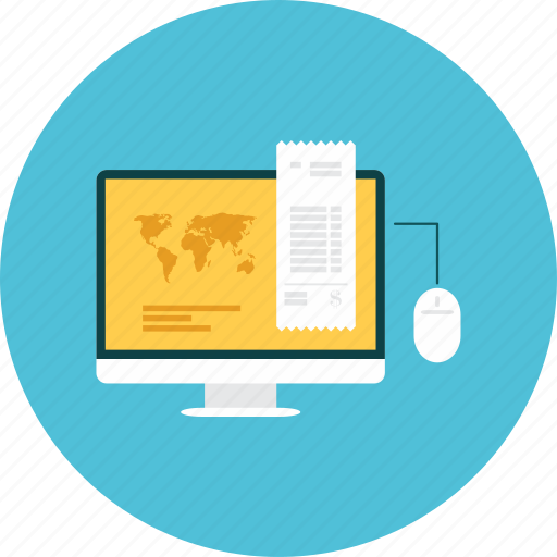 business, check, click, computer, map, pay, statistics icon