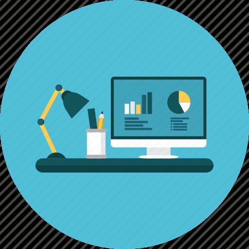 desk, light, markering, pen, pie, statistics, work icon