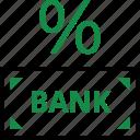 bank, banking, percent, percentage, rate, return icon