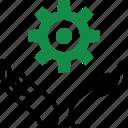 gear, hand, money, options, setup, wealth icon