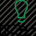 brilliant, bulb, good, hand, hands, idea, light icon