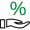 hand, hands, percentage, rate, reserve, revenue icon