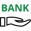 bank, banking, hand, hands, internet, online, web icon