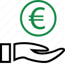 business, coin, euro, hand, hands, money, sign icon